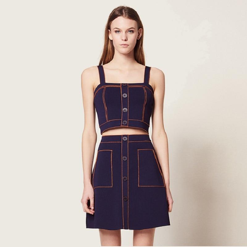 2019 primavera Streetwear azul Denim Spaghetti Strap Mini vestido mujer ropa alta calle botón dos piezas chica vestidos Sexy-in Vestidos from Ropa de mujer    1