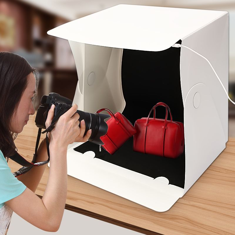 15.8 Inch Portable Folding Light Box Photography Studio Softbox LED Light Soft Box Tent Kit for Phone Camera Photo Background