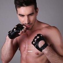 New 2019 Men's Genuine Leather Gloves Driving Sports Unlined Goatskin Half Finger Gloves Fingerless Gym Fitness Gloves