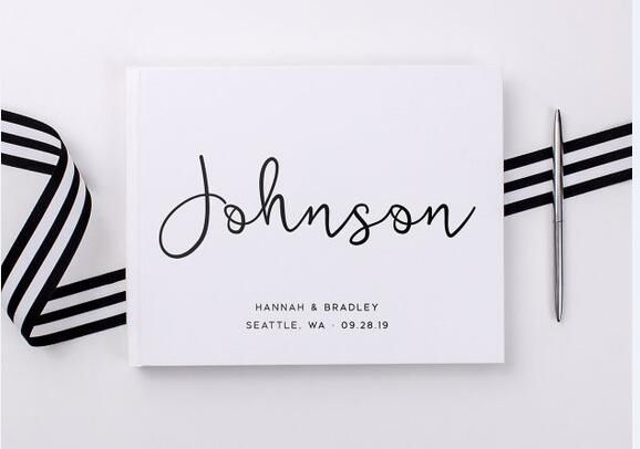 Personalized White Wedding Guest Book With Name&Date,Custom Bride Groom's Surname Wedding Guestbook Alternatives,Album Memoirs