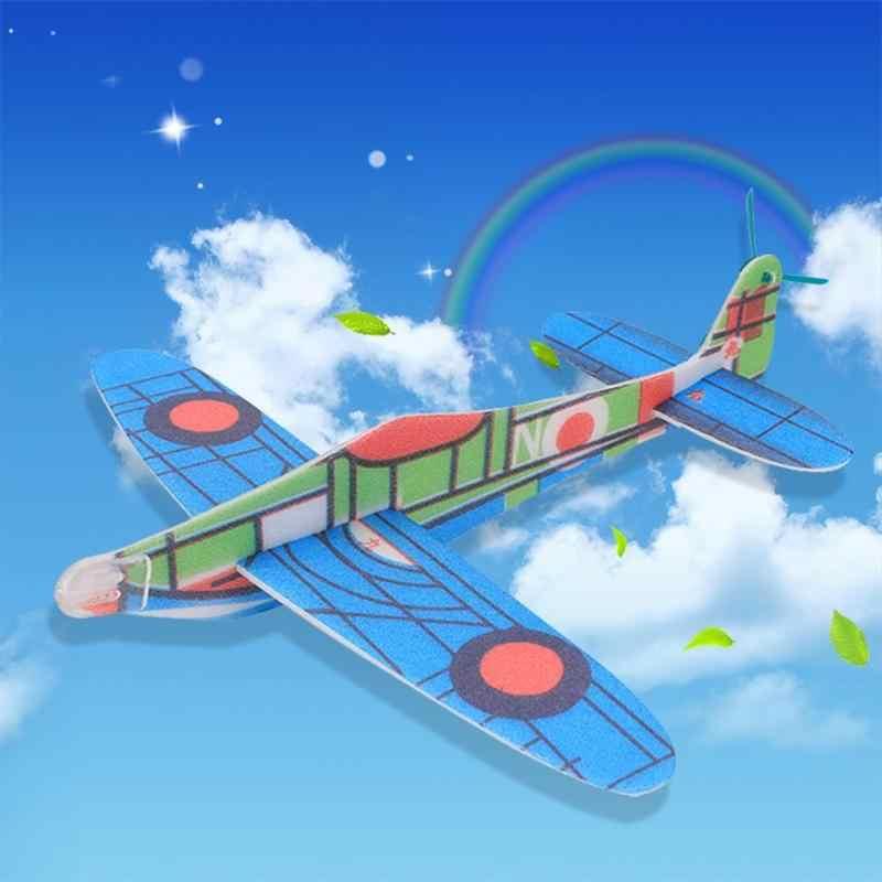 2019 DIY เครื่องบินของเล่นเด็กเครื่องบินสนุกกลางแจ้งของเล่นสีสุ่มใหม่ Hand Launch การขว้างปาเครื่องร่อน Aircraft Inertial Foam