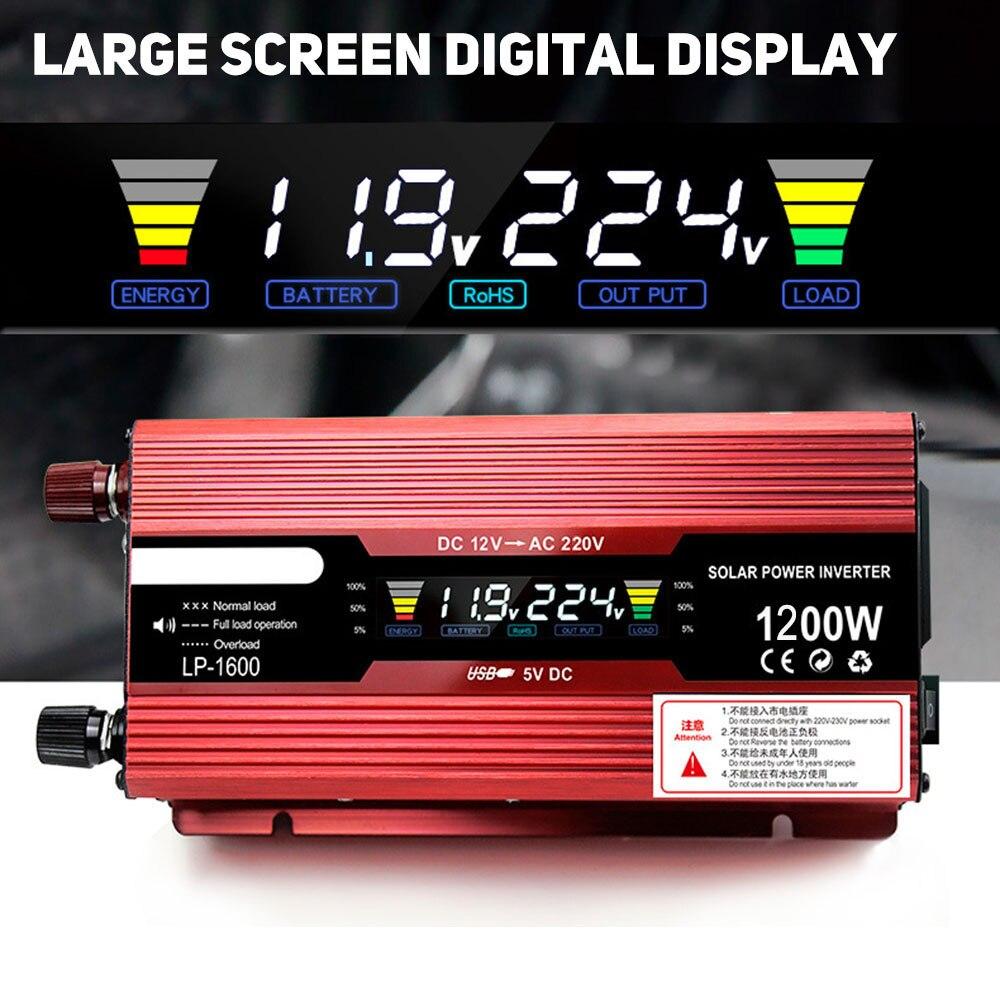 Onduleur de voiture solaire DC12V à AC220V VoltageTransformer onduleur de puissance convertisseur automobile adaptateur de Source LED affichage