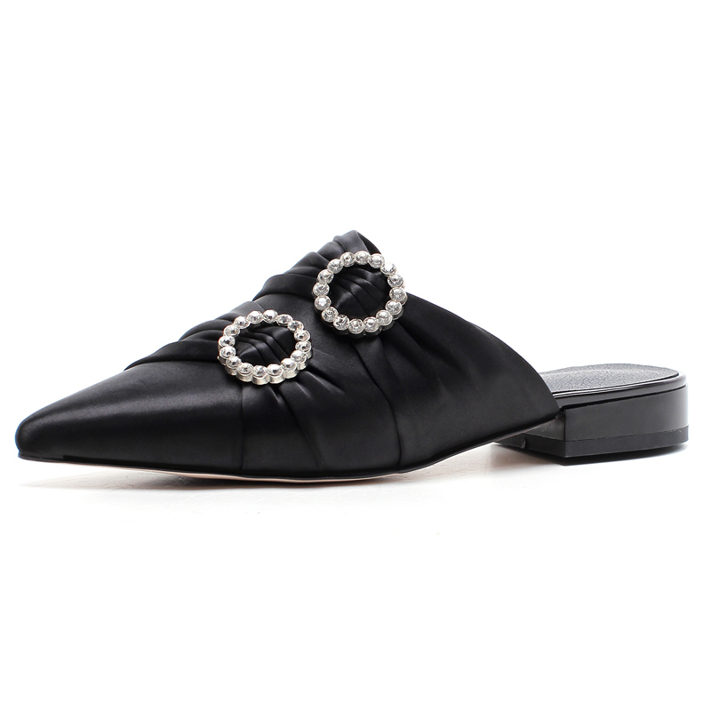 Sexy Pointed-toe Women Mules 2 CM Low Heels Summer Style Rhinestone Slippers for Party Woman Slides Shoe Box packing M697Sexy Pointed-toe Women Mules 2 CM Low Heels Summer Style Rhinestone Slippers for Party Woman Slides Shoe Box packing M697
