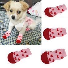 4Pcs Puppy Dog Shoes Cute Cartoon Non-Slip Knit Pet Socks So