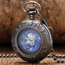 лучшая цена Exquisite Blue Roman Numerals Mechanical Pocket Watch Hand Winding Pocket Pendant Steampunk 30 cm Chain Vintage Watch Gifts