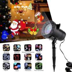 12 padrões de Luz de Natal ao ar livre À Prova D' Água LEVOU Projetor dj Disco Luz Do Floco De Neve de Ano Novo Decor Para A Decoração Home