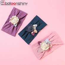 BalleenShiny New Baby Girl Headbands Stitching Flower Nylon Wide Hair Band Inflant Toddler Headwear Bandeau Bebe Fille