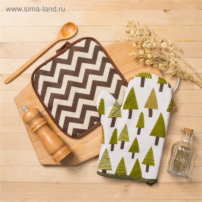 Set Доляна, варежка + potholder Coniferous forest/Zig Zag корич, 100% PE, рогожка 200 C/M 3580581 frys english delight series 3