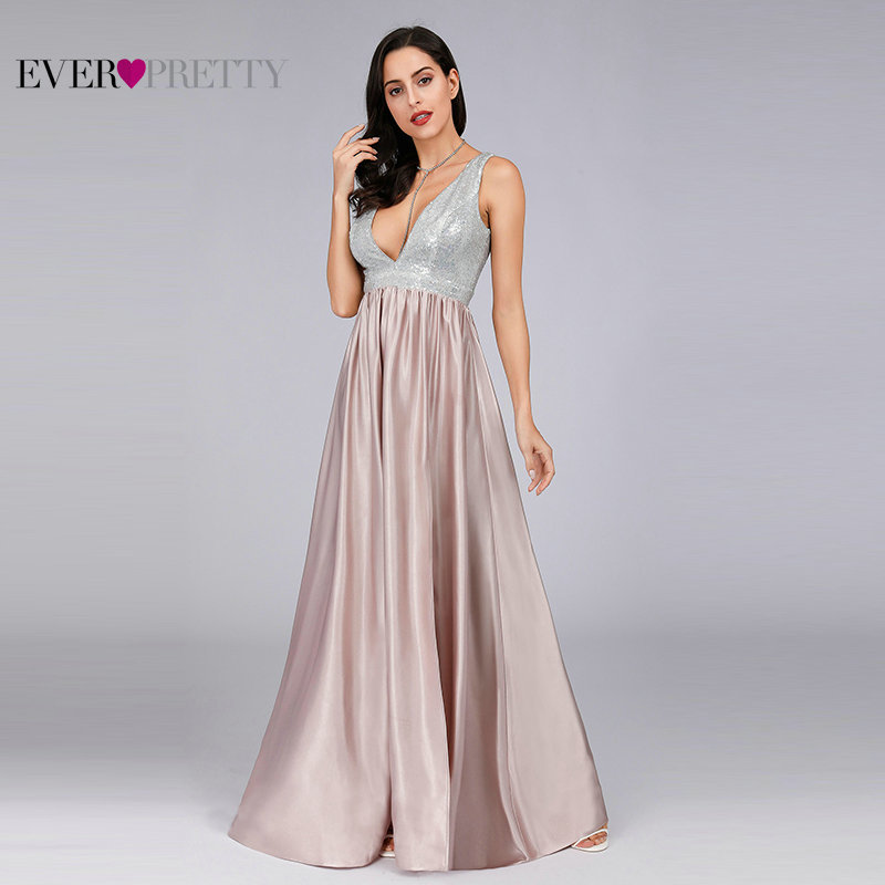 Blush Pink Sexy   Evening     Dresses   Long Ever Pretty Sleeveless Deep V-Neck Backless Sparkle Formal Party Gowns 2019 Robe de Soiree