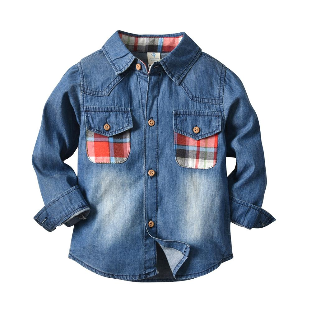 VTOM Casual Toddler Boys Shirts Kids Clothes Autumn Children Turn Down Collar Long-sleeved Top Baby Denim XN61