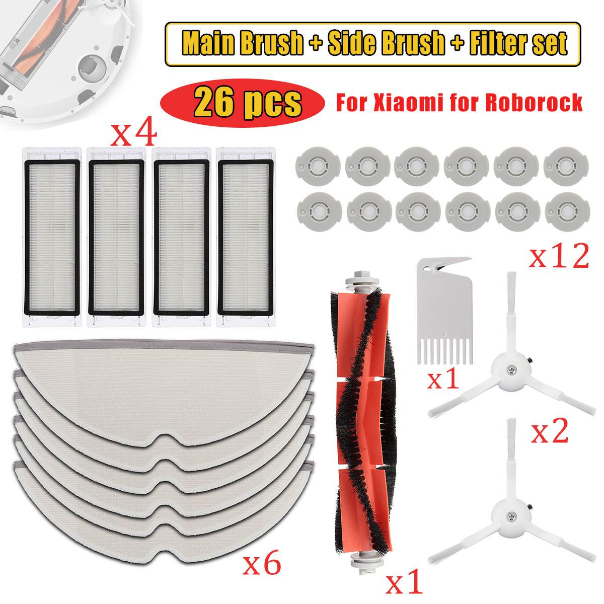 For Roborock S50 S51 S55 for Xiaomi MI Robot Vacuum Cleaner Spare Parts Kits Filter Main Brush Side Brush Mop ClothsFor Roborock S50 S51 S55 for Xiaomi MI Robot Vacuum Cleaner Spare Parts Kits Filter Main Brush Side Brush Mop Cloths