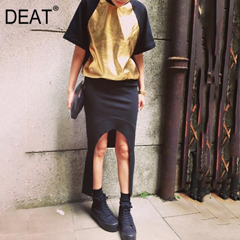 DEAT 2019 nouveau été femmes vêtements col rond manches courtes noir contraste couleurs métal taille libre pull sweat WF13101