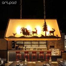 Artpad American Vintage Hanging Restaurant Lights for Bar Clothes Coffee Shop Fixtures 110V 220V E27 LED Industrial Pendant Lamp
