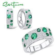 SANTUZZA 쥬얼리 정통 100% 925 스털링 실버 반짝 이는 녹색 CZ 귀걸이 반지 세트 패션 쥬얼리