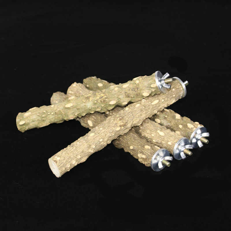 1 pc ポータブル止まりペットかむ爪研削鳥オウムスタンド木製ペットのおもちゃケージペット製品立ちスティック