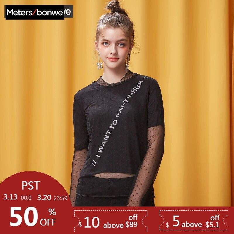 Dames 2019 Mesh Metersbonwe Colthing Splice shirt Manches pièce noir T Printemps Sexy Beige Nouveauté Deux Uq8xIY8wr