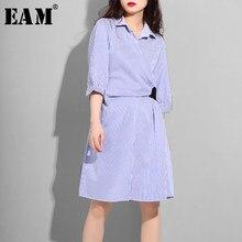 4b8e796c5  EAM 2019 nueva primavera verano solapa de manga mitad azul a rayas dividir  común vendaje suelto vestido de camisa las mujeres M..