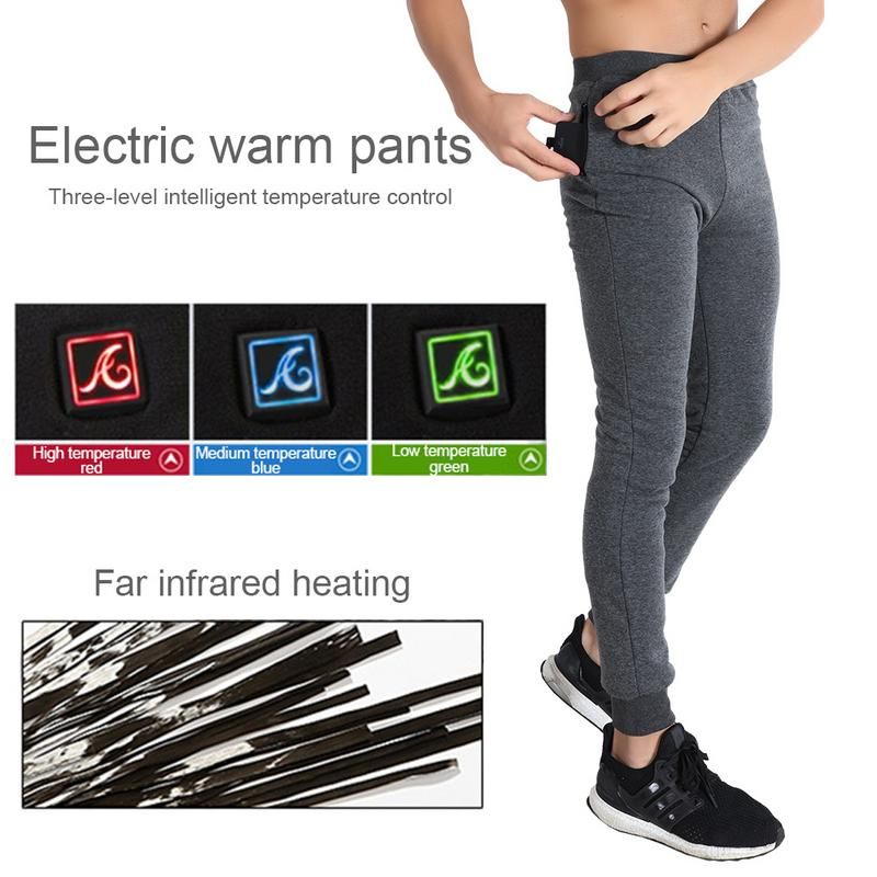 Outdoor Riding Skiing Pants USB Three-Level Heating Plus Velvet Power Intelligent Heating Leggings Velvet Heating Pants striped tape applique velvet pants