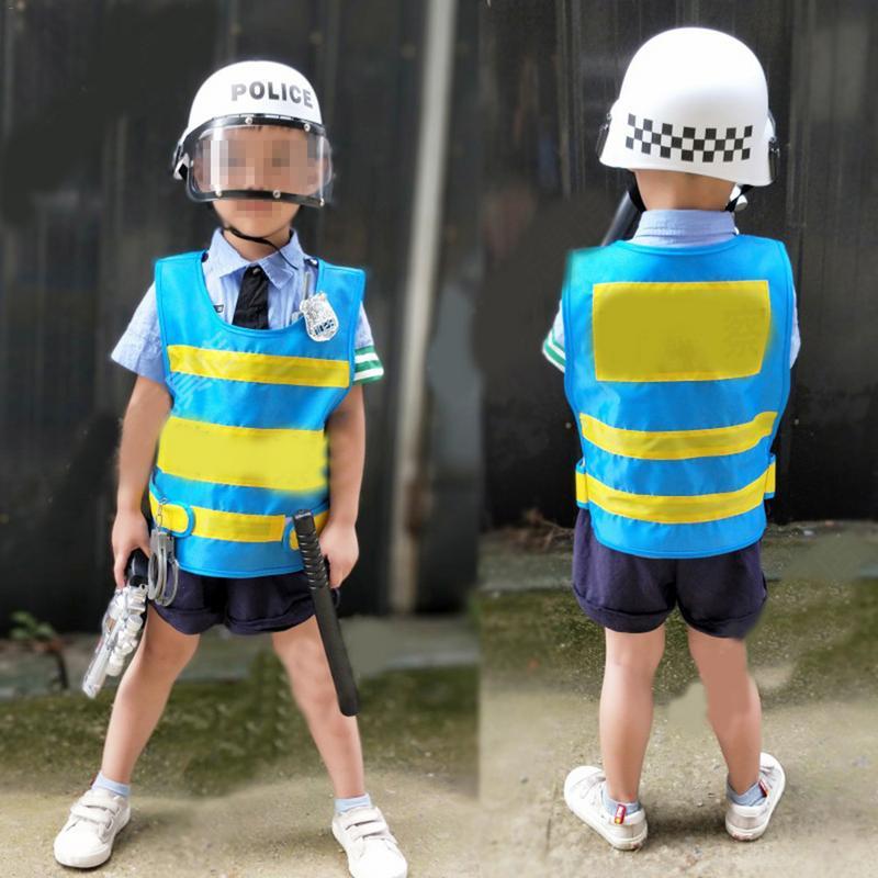 5 Pcs Children Boy Police Men Clothes Costumes For Children Boy's Suit Clothing Uniform Caps Helmet Set