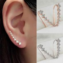 Fashion 1 Pair Women Ear Studs Crystal Jewelry Cute Earrings Charm 7 Drills Big Dipper Ear Studs Vlips Hook Earrings золотые серьги по уху