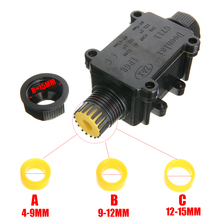 цена на 1pc Black Junction Box 2 Way Waterproof Electrical Junction Box For Outdoor Lighting Cable protection Connector Wire IP68