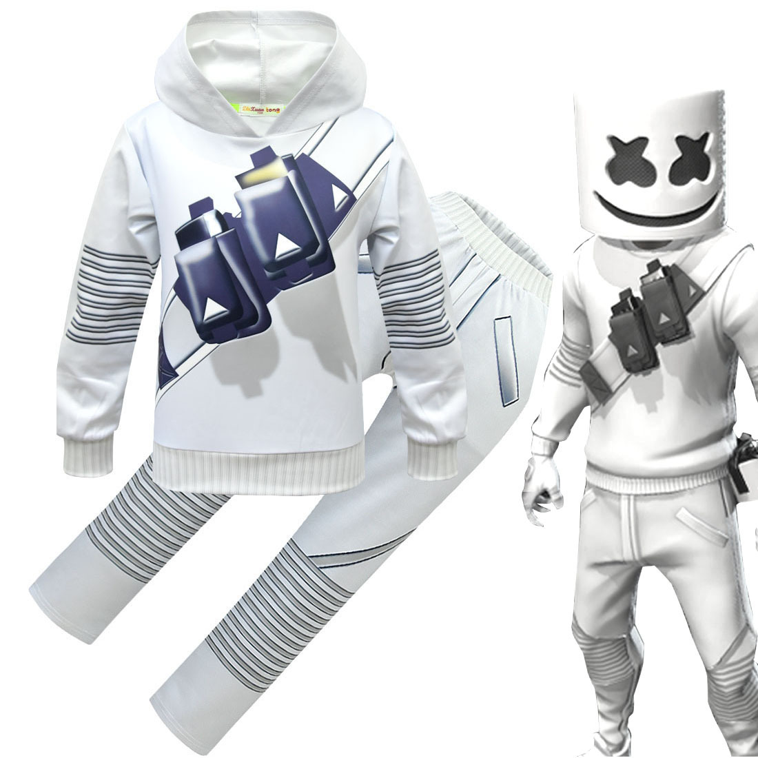 Hot Fashion DJ Marshmello Cosplay 3D Print Hooded Kids Casual Sweatshirt Pullover Clothes with Full Face Luminous Mask Helmet