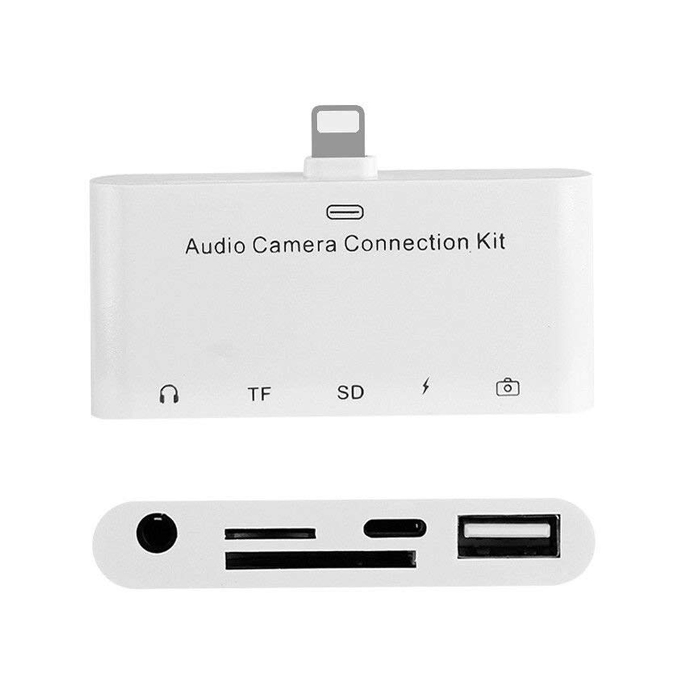 5 In 1 8Pin To SD Camera Adapter USB, OTG, 3.5mm Audio Jack, TF SD Micro-Reader, Connection Kit For IPhone & IPad, Portable SD