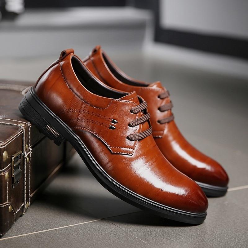 QZHSMY Wedding Dress Shoes Men Genuine Leather Oxford Shoes For Men Black Brown