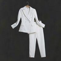 66e4ada127 ... kobiety biuro biznes smokingi kurtka + kostium damski. Women White Slim  Pant Suits Female Suit Dress Notch Lapel Women S Business Office Tuxedos  Jacket