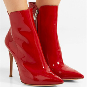 Sexy Ladies Bright Red Patent Leather Ankle Boots Women Pointed Toe Stiletto Heels Spring Motorcycle Bottines Mujer Zapatos