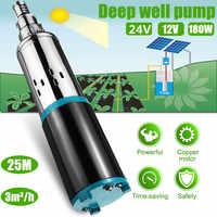 Garden Solar Water Pump 12/24V 180W 3000L/h 25m Deep Well Pump DC Screw Submersible Pump Irrigation Home Agricultural