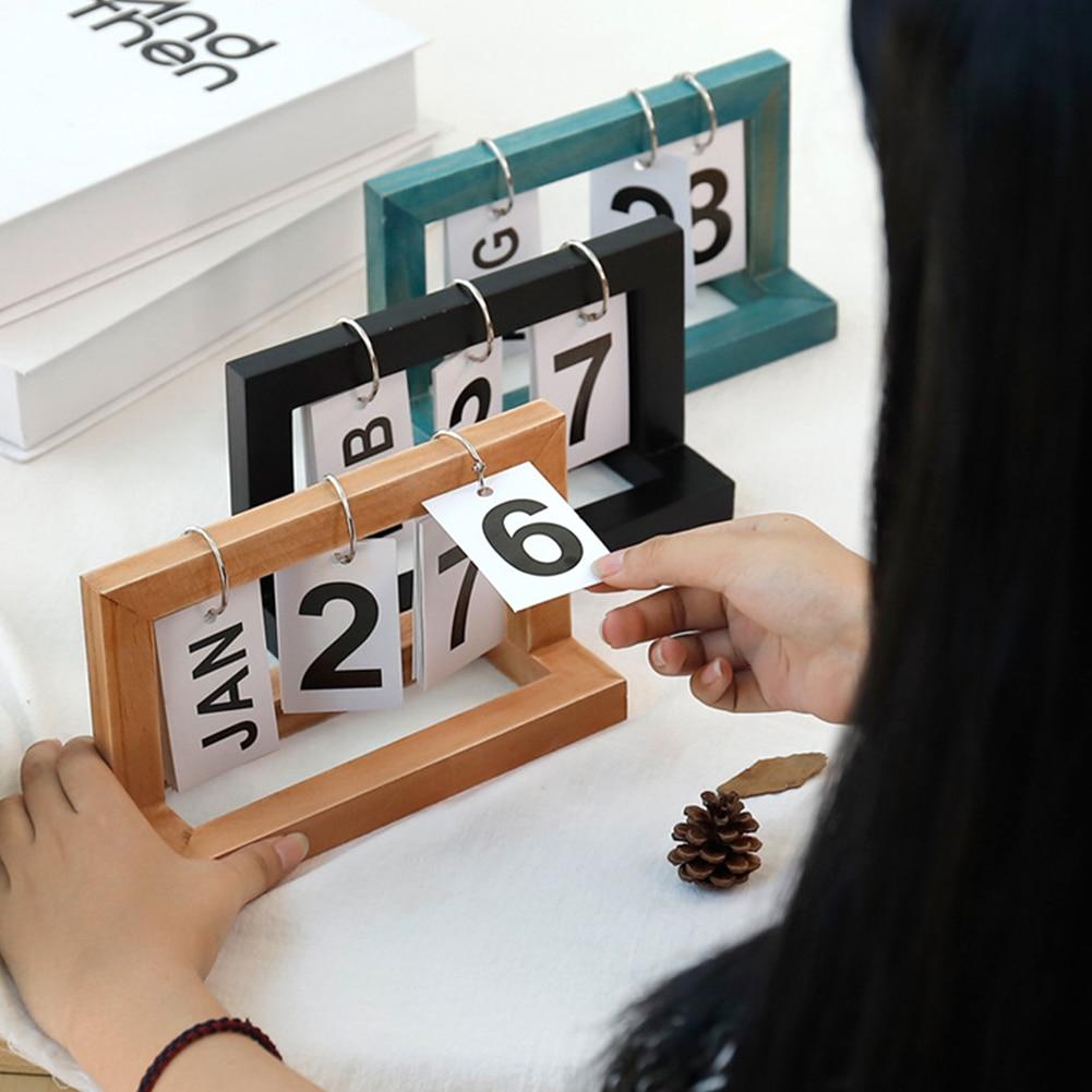 Office Wooden Vintage Home Calendar Cafe Desktop Decorative Rustic Ornaments DIY Flip(China)
