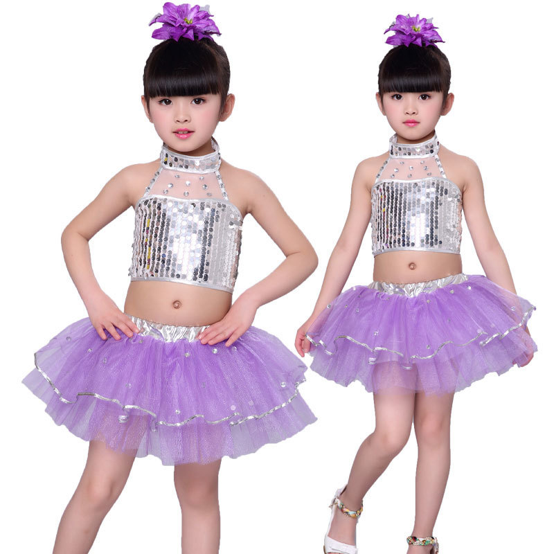 Songyuexia Children's Sequins Jazz Costume Girls'Modern Jazz Dance Costume Children's Puffy Dress