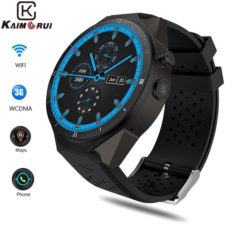 Kaimorui KW88 פרו 3 גרם Smartwatch טלפון אנדרואיד 7.0 Quad Core 1.3 ghz 1 gb 16 gb Bluetooth 4.0 חכם שעון טלפון GPS מכשירים לביש