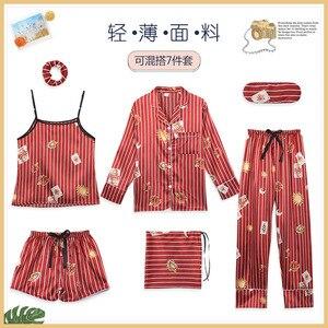 Image 3 - Womens 7 Pieces Pajama Set Emulation Silk Striped Pajamas Women Sleepwear Home Clothes Sexy Pijama Night Suit Spring Pyjamas