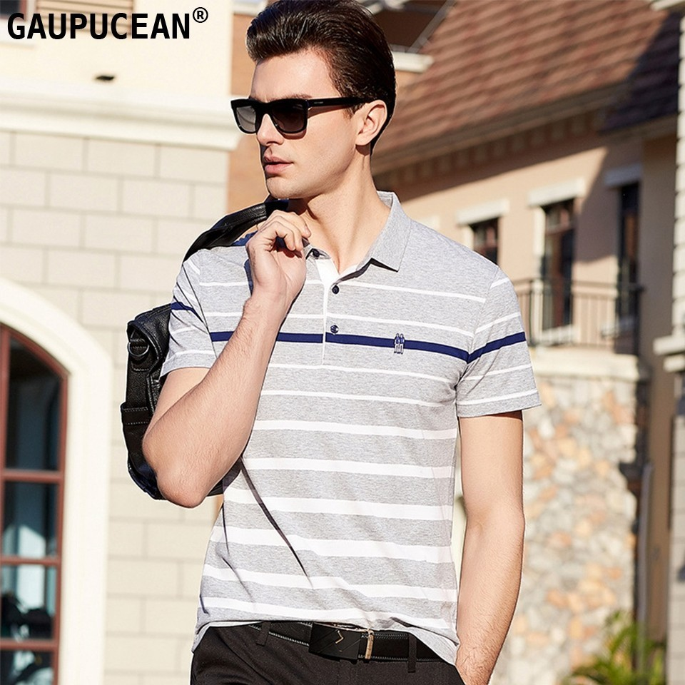 95% Cotton 5% Spandex Men Short Sleeve   Polo   Shirt Asian Sizes Male Grey Blue Quality Fashion Anti-pilling Stripe Man   Polo  -shirt