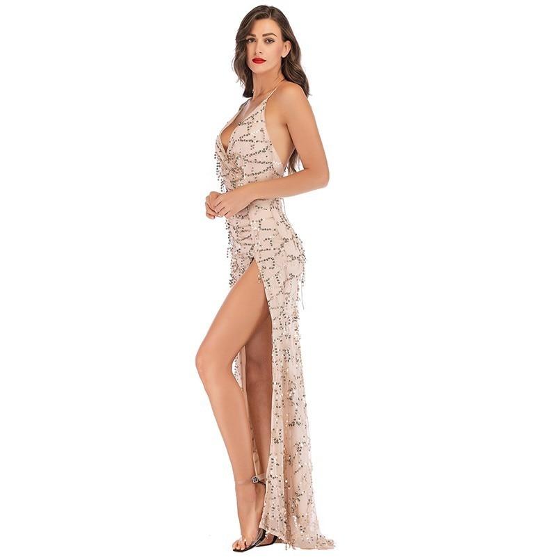 8a048a94c7 Sexy Sukienka Femmes Sequin Vêtements Robe Black Nu Vestidos Longue Kleider  Noir Mode Muxu Femme apricot Jarretelle Paillettes Dos XuOPkTZi