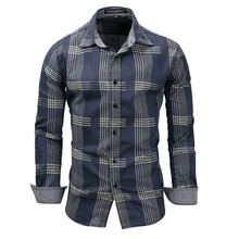 Business Style Men Plaid Shirt Navy Blue Button-Down Slim Fit Cotton Turn-down Collar 2019 Spring New Long Sleeve Man Clothing