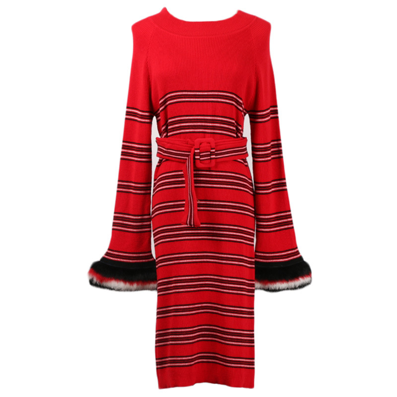 Dames Manches Longues Robe Femmes Pull À Noël Rouge 2018 Rayé Vêtements Élégant Piste Desinger Hiver Tricoté Fête De N0nwOZ8XPk