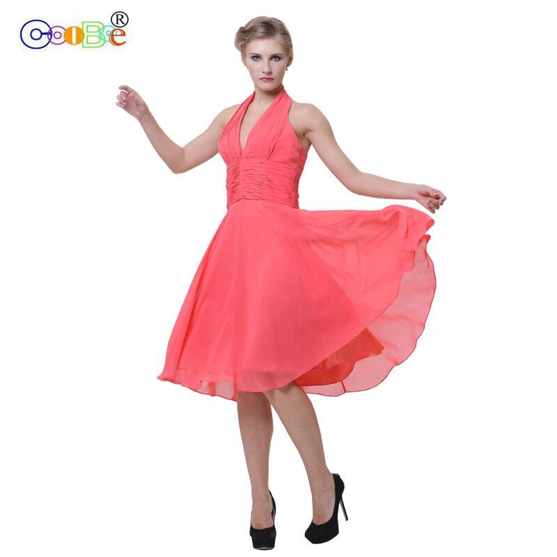 Coobee robe de demoiselle d'honneur courte de luxe plissé une ligne v-cou robe de célébrité robe de bal Campus pour la fête de mariage longueur du genou CO12003