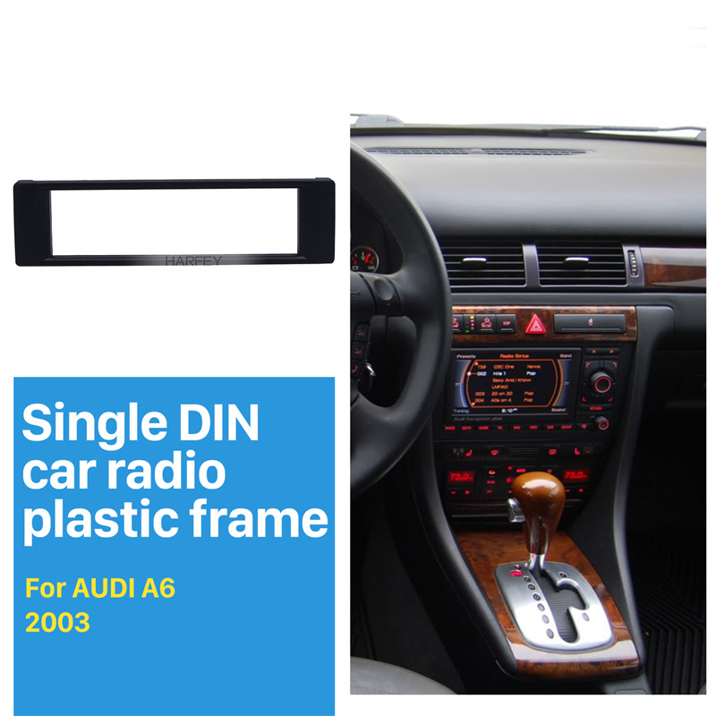 Harfey 1 Din Car Autoradio Panel Fascia 171*46mm Refitting Dashboard Frame for Audi A6 Vehicle GPS Stereo Trim Installation kit image