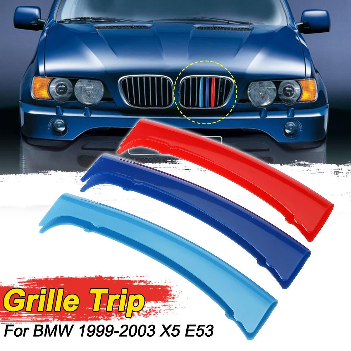 3 Colors Front Kidney Grill Grille Cover Clip Trim M-Color  For BMW X5 E53 1999-2003 8 Poles Grille