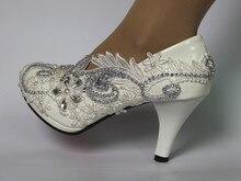 Women Shoes White Lace Wedding Shoes 8CM High Heels Shoes White Lace Sweet Pumps Princess Party Heels стоимость