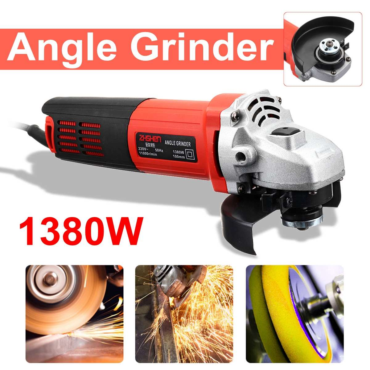 220V/50Hz 1380W 11000r/min Angle Grinder Electric Angle Grinding Metal Wood Cutting and grinding Machine Power Too