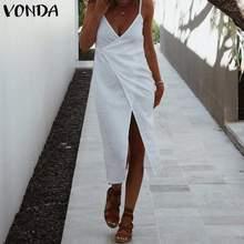 Été blanc robe plage vêtements fête longue robe Maxi VONDA 2021 sans manches coton fendu vacances Vestidos grande taille