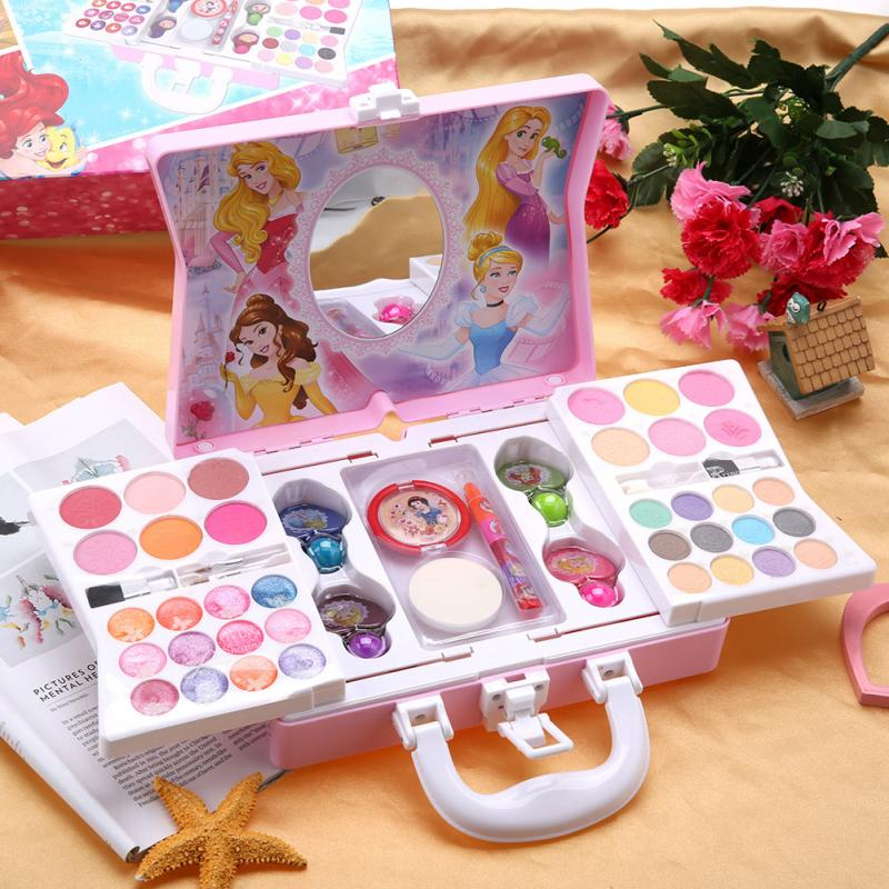 Disney Princess Cosmetics Play Set For Girls Kids Makeup Kit With Mini Case Cosmetic Toy Safe Non-Toxic Hobby Funny Kid Gift