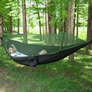 Image 5 - Hamaca de apertura rápida automática para acampar al aire libre, red antimosquitos, defensa Hamak, columpio, 2 personas