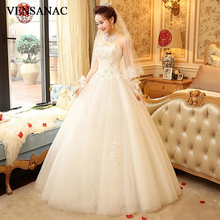VENSANAC Pleat Strapless Flowers Appliques Ball Gown Wedding Dresses Lace Off The Shoulder Backless Bridal Gowns