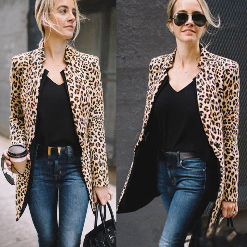Casaco De Luxo para As Mulheres do sexo feminino Casaco de Inverno casaco Quente Moda Leopard Impressão Casacos Revestimento das Mulheres