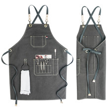Gray Canvas Bib Apron Cotton Strap Barista Bartender Pastry Waitstaff Uniform Florist Barber Hairdresser Painter Work Wear K93